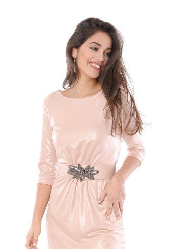 vestido corto venus rosa detalle