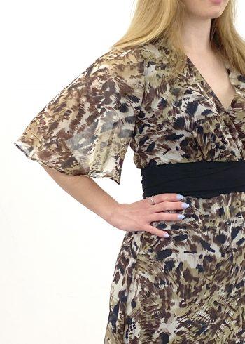 detalle vestido largo ebel estampado leopardo