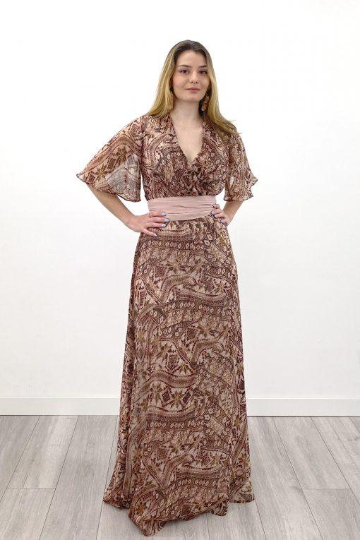 vestido largo emma estampado etnico