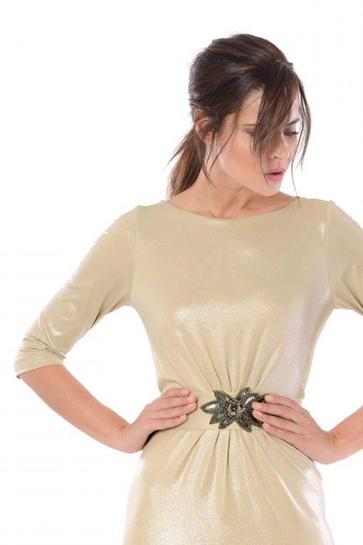 vestido largo agatha oro detalle