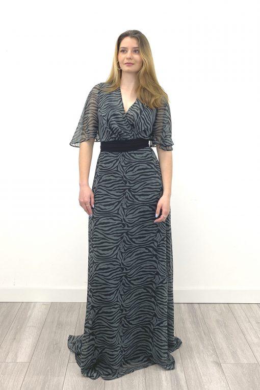 vestido largo tais estampado cebra